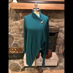 Bobeau Shawl One Button Sweater Cardigan XL Green